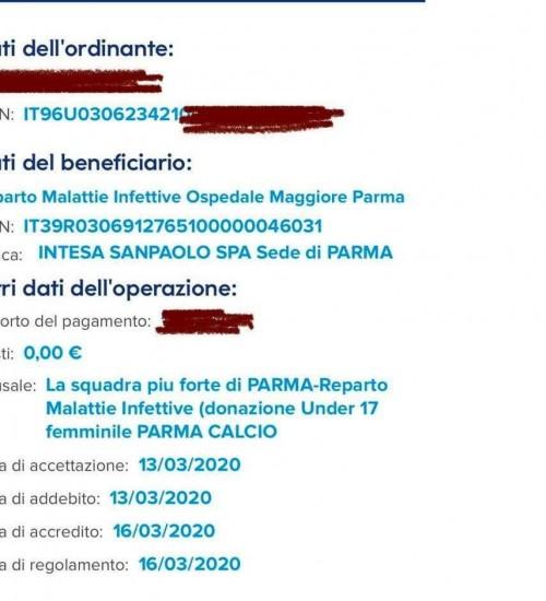 DONAZIONE PARMA FEMMNINILE UNDER 17